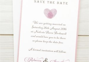 Save the Date Vs Wedding Invitations Thumb Print Save the Date Pure Invitation Wedding Invites