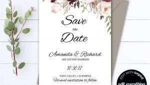 Save the Date Wedding Invitation Template Floral Save the Date Wedding Template Floral Wedding