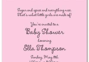 Sayings for Baby Shower Invites Baby Shower Invitation Wording for A Girl Cimvitation