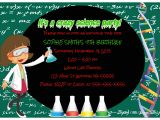 Science themed Party Invitations Science theme Birthday Party Invitations Girl Crafty