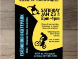 Scooter Party Invites Free Bmx Party Skate Park Birthday Party Invitations Skateboard
