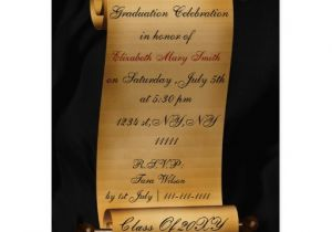 Scroll Graduation Invitations Elegant Scroll Graduation Party Invitation Postcard Zazzle