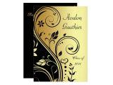 Scroll Graduation Invitations Floral Gold Black Scroll Graduation Invitation Zazzle
