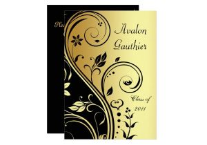 Scroll Graduation Invitations Floral Gold Black Scroll Graduation Invitation Zazzle