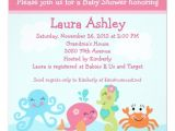Sea Life Baby Shower Invitations Under the Sea Life Girl Baby Shower Invitation
