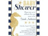 Seahorse Baby Shower Invitations Baby Shower Invitation Beach theme Gold Seahorse