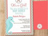 Seahorse Baby Shower Invitations Beach Ocean Baby Shower Party Invitation Coral and Aqua