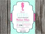 Seahorse Baby Shower Invitations Printed Seahorse Baby Shower Invitation Seahorse Baby Shower