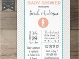 Seahorse Baby Shower Invitations Seahorse Baby Shower Invitation Printable Invites Chevron