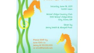 Seahorse Baby Shower Invitations Tranquil Seahorses Baby Shower Invitation 5 X 7