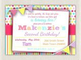 Second Birthday Party Invitations Girls 2nd Birthday Rainbow Invitation Girls Rainbow Pink