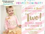 Second Birthday Party Invitations Girls Second Birthday Invitation Pink and Gold 2nd Birthday