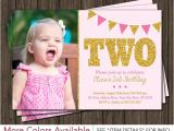 Second Birthday Party Invitations Pink and Gold 2nd Birthday Invitation with Photo Light