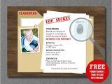 Secret Agent Party Invitations Free Secret Agent Spy Detective Birthday Invitation Printable