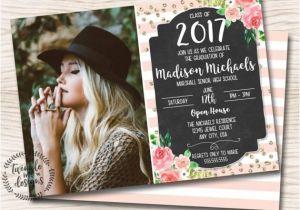Senior Graduation Invites Floral Graduation Invitation Pink Gold Black