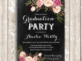 Senior Party Invitations Floral Graduation Invitation Printable Chalkboard Graduation