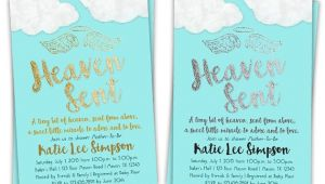 Sent From Heaven Baby Shower Invitations Heaven Sent Baby Shower Invitation Boy Baby by