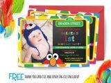 Sesame Street 1st Birthday Photo Invitations Sesame Street Birthday Invitation First by Abbyreesedesign