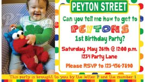 Sesame Street 1st Birthday Photo Invitations Sesame Street Birthday Invitation Primary Colors Custom