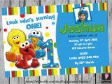 Sesame Street 1st Birthday Photo Invitations Sesame Street First Birthday Invitation by