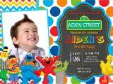 Sesame Street Birthday Party Invitations Personalized Sesame Street Birthday Party Invitation by Prettypaper