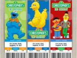 Sesame Street Customized Birthday Invitations Personalized Sesame Street Birthday Ticket Invitation Cards