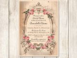 Shabby Chic Wedding Shower Invitations Shabby Chic Bridal Shower Invitation Vintage Pink Roses and