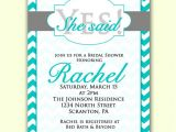 She Said Yes Bridal Shower Invitations Bridal Shower Invitation She Said Yes Teal Blue Chevron