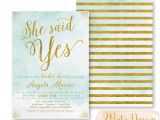 She Said Yes Bridal Shower Invitations She Said Yes Bridal Shower Invitation Glitter by Zpartydesigns