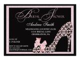 """Shoe Bridal Shower Invitations Pink Damask Shoe Bridal Shower Invitation 5"""" X 7"""