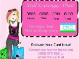 Shopping Party Invitation Mall Scavenger Hunt Shopping Invitations by