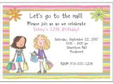 Shopping Party Invitation Shopping Mall Birthday Party Invitations Girl Shopping