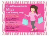 Shopping Party Invitation Wording Free Printable Mall Scavenger Hunt Birthday Party