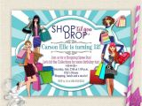 Shopping Party Invitation Wording Girls Day Out Invitation Shopping Birthday Invitation Mall
