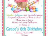 Shopping Party Invitation Wording Sweet Shop Birthday Party Invitations Candy Cupcake