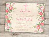 Simple Baptism Invitations Baptism Invitations Floral Cross Pink Girl Simple Modern