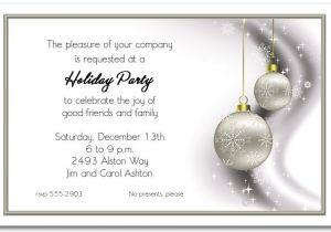 Simple Christmas Party Invitations Rhinestone Silver ornaments Holiday Invitations Christmas