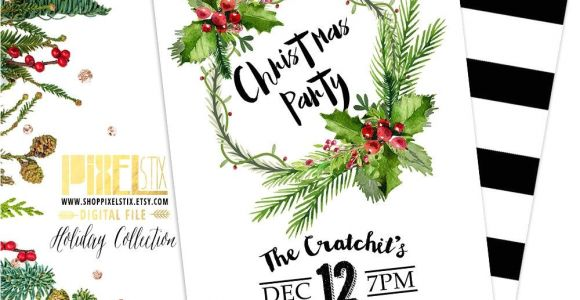 Simple Christmas Party Invitations Tropical Christmas Party Invitation Christmas Wreath