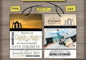 Ski Pass Wedding Invitations Custom Ski Pass Lift Ticket Save the Date Wedding