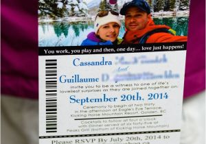 Ski Pass Wedding Invitations Lift Ticket Wedding Invitations to Kicking Horse In Golden