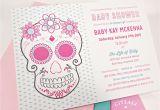 Skull Baby Shower Invitations Pink Floral Sugar Skull with Roses Baby Shower Invitation