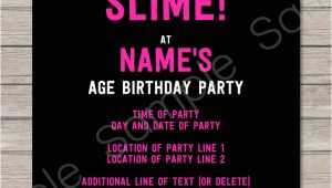 Slime Party Invitation Template Slime Birthday Party Invitations Template Slime Party