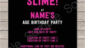Slime Party Invitation Template Slime Birthday Party Invitations Template Slime Party