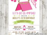 Slumber Party Invitation Ideas Slumber Party Invitations Pink Glamping Tent Sleepover
