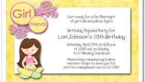 Slumber Party Invitation Sayings Dark Hair Girl Pajama Party Sleepover Invitations Girls