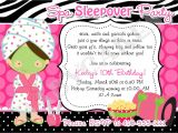 Slumber Party Invitation Sayings Slumber Party Invitation Wording Template Best Template
