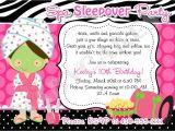 Slumber Party Invitation Wording Ideas Spa Sleepover Invitation Wording Invitation Sample