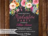 Small Graduation Party Invitations Graduation Party Invitation Watercolor Flowers Invitation