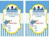 Smurf Baby Shower Invitations Smurf Birthday Invitations