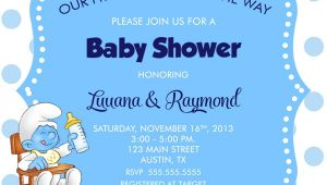 Smurfs Baby Shower Invitations Smurf Baby Shower Invitation